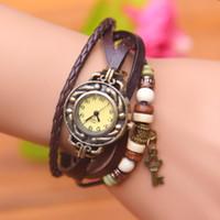 Wholesale Rubber Bracelets Shapes - Watch For Women Leather Bracelet Watch Women Dress Watches Angel Wing Pendant Vintage Analog WristWatch Quartz Watch