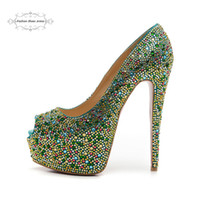 Tamanho 35-41 Women's 16cm High Heels Canvas azul com strass verde Red Bottom Open Toe Pumps, Ladies Luxury Sexy Wedding Party Dress Shoes