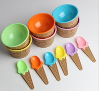 Wholesale Dessert Cups - New Arrive Kids ice cream bowls ice cream cup Couples bowl gifts Dessert container holder with spoon Best children gift