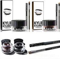 Wholesale Eyebrow Cream - Kylie Gel Eyebrow Liner Kit BRAND NEW Kylie Jenner Kyliner In Black Brown With Eyeliner Gel pot Brush (1 set =1 eyeliner+ 1 brush + 1 cream)