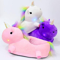 Wholesale slippers plush children - 3 Colors LED Unicorn Plush Slippers Unicorn Half Heel Warm Household Winter Slippers for Unisex Big Children Shoes pair CCA7511 pairs
