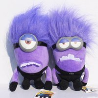 Wholesale Minion Dolls - EMS Free to uk 2 style 12 inch Despicable Me minions Purple Evil minion 30cm 3D Plush doll Christmas Gift