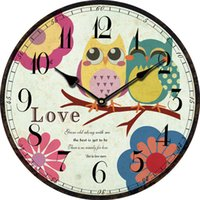 Wholesale Cheap Antique Clocks - Wholesale- Kids Cute Owl Wall Clock Modern Design Large Decorative Wall Clocks Home Decor Antique Wood Clock Cheap