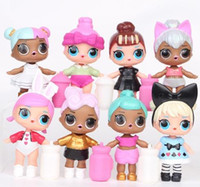 Wholesale Toys For Small Girls - New 8 pcs  Lot LOL Surprise Doll with feeding bottle American PVC Kawaii Children Toys Anime Action Figures Realistic Reborn Dolls for girl