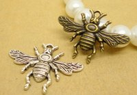 Wholesale Bronze Items - Hot Items!!!100pcs lot Alloy Bee bronze or silver Plated Charms Pendant Fit Jewelry DIY 25*24MM