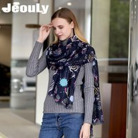 Wholesale Flower Hijabs - Jeouly 2017 New Hot Sales Sequined Scarf Flower Long Soft Cachecol Marcas Foulard Femme Tassel Women Wraps Lady Shawls Gift hijabs Scarves
