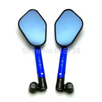 motorradspiegel blau großhandel-BLAU Universal Motorrad Spiegel Motorrad Moto CNC Rückspiegel Spiegel Aluminium Für Honda Yamaha Kawasaki Suzuki Ducati