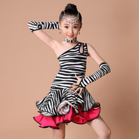 Robe De Danse De Zèbre Latin Pas Cher-2016 Compétition Costumes Robe Salsa Danse Fringe Dress Enfants Latin Dance Gilrs Dot / Zebra / Leopard / Practice For Dance Dancewear Dress