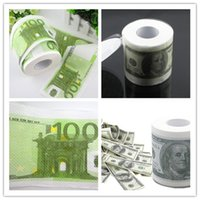 Wholesale Dollar Tissue Paper - 2016 new money Facial Tissue One Hundred Dollar&Euro Bill Toilet Paper Novelty Fun $100 TP Money Roll A092204