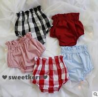 Wholesale Denim Bloomers - New Check Baby Girls Shorts 2016 Summer Plaid ruffle high waist Children shorts cotton pp pants bloomers lantern Kids Mini Shorts 6578
