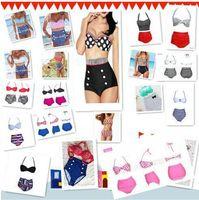 ingrosso alto perno in vita su bikini-Alta qualità 19 Design Fashion Cutest Costume da bagno retrò Swimwear Vintage Pin Up Bikini a vita alta Set HH 1000Set