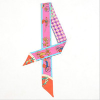 Wholesale novelty ribbons - Scarf lady's twilly ribbon tied the bag handle buckle scarf S301-S307