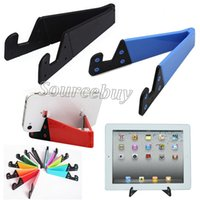 Wholesale Hands Free Ipad Stand - Colorful Folda V Shaped Universal Foldable Mobile Cell Phone Stand Holder Mini Portable Tablet PC iPad Phone Mobile Hands Free Holders Stand