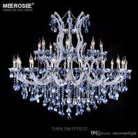 Wholesale Decorative Crystal Glasses - European style crystal candle lamp 24-light colored glass massive chandelier hotel hallway decorative lighting fixture vintage