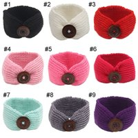 Wholesale Fashion Photographs - 9COLORS Baby Bohemia Turban Knitted Headbands Fashion protect Ear Bow Headwear Girl Hair Accessories Photograph props Buttons