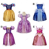 Wholesale Embroidered Silk Chiffon - Classic Fairy Princess Dresses princess cinderella costume girl movie dress children party costume performance dress princess 5styles 80yt