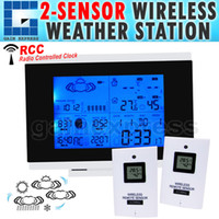 Wholesale Clock Radio Weather - R01AOK-5018B_2S Indoor Outdoor Wireless Weather Station Temperature Humidity Remote Sensor Date Radio Controlled Clock RCC DST w  2 sensors