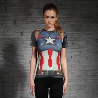 Wholesale Girls Cap Sleeve T Shirt - HOT WOMEN T-SHIRT BODYS ARMOUR MARVEL CAPTAIN AMERICA  SUPERMAN COMPRESSION T SHIRT GIRL UNDER FITNESS TIGHTS TOPS GYM CLOTHING
