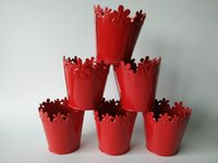 Atacado Hot Red Cute Small Vase Wedding Centerpieces Vasos baratos Decoração Metal Tub para Dry Flower