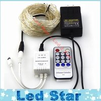 Wholesale Remote Controlled Curtains - 20M 200leds   30M 300leds   50M 500 LEDs Cool White LED String Light Christmas Lights Silver Wire Remote Control + power adapter