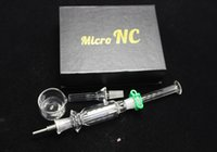 Wholesale Newest Nail Tips - 2016 Newest Micro NC Glass Pipe 10mm Smoking Pipe With Titanium Nail Titanium Tips Quartz Dish Nector Collector DHL