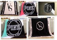 Wholesale Velvet Hands - VS Pink FashionLetter Blanket Soft Coral Velvet Rug BeachTowel Blankets Air conditioning Rugs Comfortable Carpet 130*150cm G120