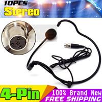 pines xlr al por mayor-Mini XLR 4 Pin TA4F 4PIN Conector Earhook Headworn Auriculares Micrófono Condensador Mic Mike Mikrofon Para BodyPack inalámbrico