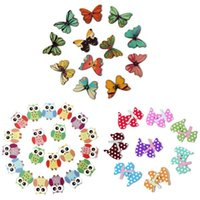 Wholesale 50pcs Holes Mixed Butterfly Shape Wooden Sewing Mend Scrapbooking DIY Buttons