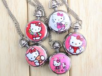 Wholesale Kitty Pocket Watch - New Hello Kitty Cartoon Children Pocket Watch Fashion delicate Pendants Girl necklace Pocket Watch Quartz necklace pocket watch