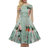 Wholesale Dreeses Woman - High-quality Women Vintage 1950's A Line Sleeveless Flora Printed Spring Garden Party Picnic Dress Ball Gown Stretchy Cotton Casual Dreeses