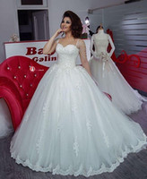 online shopping Ball Gowns - Vestido De Novia 2017 Luxury Tulle Ball Gown Wedding Dresses Sweetheart Sleeves With Pearls Tassel Lace Appliques Bridal Gowns Custom Made