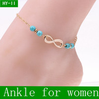 Wholesale Wholesale Diamond Beads - 2016 New Ankle Bells Summer Style Turquoise Beads Chain Foot Double Zipper Anklet 925 Women Silver Bracelet On A Leg Diamond Jewelry