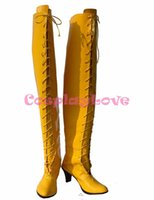 Wholesale Megurine Luka Costumes - Wholesale-Custom Made Japanese Anime Yellow High Heel Vocaloid Megurine Luka Long Boots Cosplay Shoes