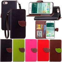 Wholesale C7 Red Green - Leaf Wallet Leather Pouch Case For Iphone 8 7 Plus Samsung Galaxy C7 PRO S8 Plus A7 A3 A5 2017 Huawei P8 Lite LG K8 Strap Stand Cover 1pcs