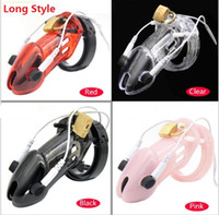 Wholesale Shock Chastity - 2017 Male Long PC Electric Shock Pulse Stimulate Cock Cage With 5 Penis Ring Bondage Chastity Device Lock Adult Bdsm Sex Toy 4 Color A191