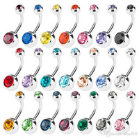 Wholesale Surgical Steel Navel Piercing Ring - New 316L Surgical Steel navel rings Crystal Rhinestone Belly Button Navel Bar Ring Body Jewelry Piercing 50PCS LOT Free Shipping 2993