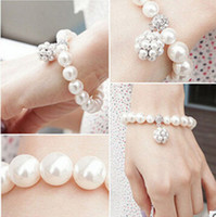 Wholesale Gold Bridal Bracelets - 2018 New Korean Style Women Faux Pearls Bracelet For Girl Prom Cocktail Homecoming Party Evening Silver And Gold Gift Bridal Jewelry