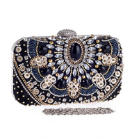 Wholesale Sequin Wedding Clutch - Black Retro Evening Clutch Bags Rhinestones Beaded Clutch Bag Wedding Party Clutches Purse Chain Handbag