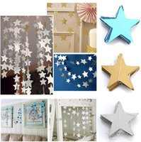 Wholesale Bunting Wholesale - Wedding Party Bunting Colorful Star Paper 4m Decoration Hot Banner Drop Garland Silver Gold & Blue
