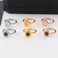 Wholesale Wholesale Shell Discs - Luxury brand 18k rose gold shell disc finger rings bride wedding ring for women Titanium jewelry valentine's day gift 080133