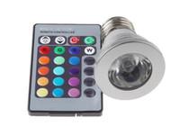 controlador mr16 al por mayor-Proyector LED RGB 1W E27 GU10 MR16 E14 RGB 1 juego 16 luces LED cambiantes de color con controlador inalámbrico para fiesta en casa