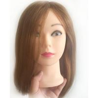 peluquería al por mayor-16 pulgadas 100% cabello humano Practicar Peluquería Cabeza de Entrenamiento Maniquí cabeza de entrenamiento cabeza de entrenamiento de cabello humano
