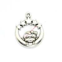 Wholesale Wholesale Jewelry Monkey - 15pcs Antique Silver Plated Moon Monkey Star Charms Pendants for Bracelet Jewelry Making DIY Necklace Craft 29x23mm
