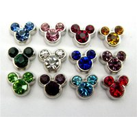 Wholesale Mouse Charms - New Design FC529 floating locket charms 10pcs birthstone mouse for floating living locket as gift wholesales free shipping