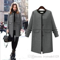 Wholesale Trench Coats Rounded Collar - NEW fashion Euro style women long sleeve round collar trench coat lady casual elegant winter coat free shipping multi size