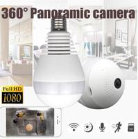 Wholesale light bulbs for camera - 360 degree wifi Panoramic 960P Hidden IR Camera Wireless Fisheye Security Light Bulb CCTV Security IP camera for home