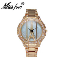 Wholesale Eiffel Watch Diamond - 2016 Miss fox Hot Sale New Original design fashion women quartz watch waterproof inner diamond pattern inlay Eiffel Tower
