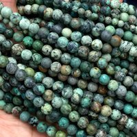 "Wholesale Turquoise 6mm - Discount Wholesale Natural Blue Green Africa Turquoise Round Loose Stone Beads 6mm-12mm Fit Jewelry DIY Necklaces or Bracelets 16"" 04275"