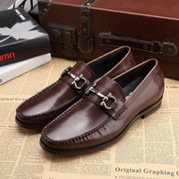 Wholesale Dress Classic Shoes Men - Fashion Designer Classic Office Suit Men Dress Shoes Genuine Leather Black Brown Italian Formal Oxfords Wedding Shoes Size 45