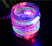 Wholesale Kids Wholesale Acrylic Bangle - 2017 Acrylic Glitter Glow Flash Light Sticks LED Crystal Gradient Color Hand Ring Bracelet Bangle Creativity Dance Party Supplies Toy